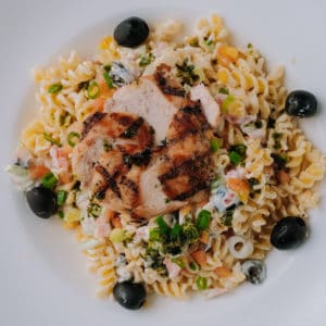 spiced chicken and pasta salad