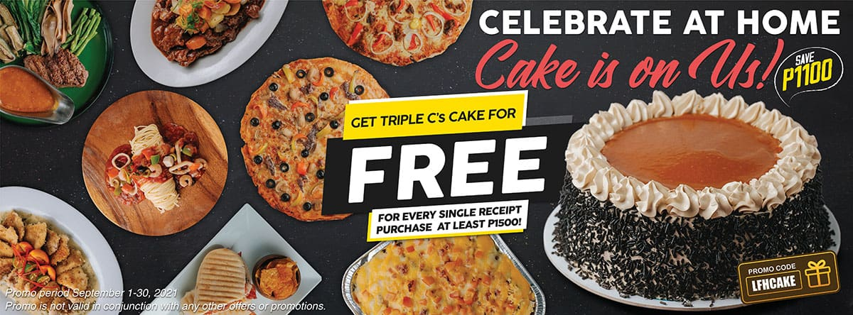 Free cake for orders P1,500 and up
